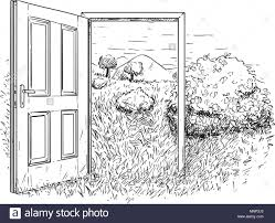 open door drawing. Perfect Drawing Vector Artistic Drawing Illustration Of Open Door In Beautiful Nature  Landscape In W