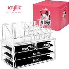 Acrylic Makeup jewelry cosmetic organizer - Set of 4 Extra Deep Drawers  That Open & close
