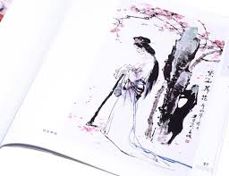 enlargement view of a nice sumi lady painting of an elegant lady standing under a plum