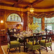 dining rooms red luxurious room stain glass window dark wood table with