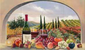 Mural Tiles For Kitchen Decor kitchen Dazzling Tile Murals Kitchen Backsplash Wine And Fruits 53