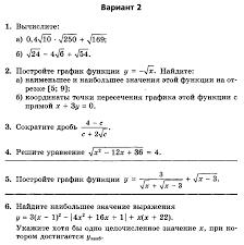 Методическая разработка по алгебре в классе УМК Мордкович А Г  Контрольная работа № 4 по теме Квадратичная функция Функция y k x