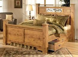 Homemade Wood Bed Frames Rustic Pine Bedroom Furniture Brown Plank ...