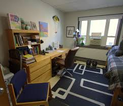A view of a typical dorm room in the Posner Hall dormitory on Harrison  Avenue