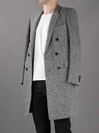 Black tweed double breasted wool coat