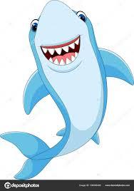 cartoon funny shark isolated on white background vector by tiu