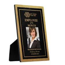 Employee Of The Month Photo Frame Custom Employee Of The Month Award Gold Star Plaque Zazzle Com