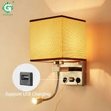 Headboard Light Switch Us 28 92 20 Off Modern Indoor Led Wall Lamp Bedside Bedroom Applique Sconce With Switch Usb E27 Bulb Interior Headboard Home Hotel Wall Lights In