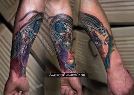 татуировка киберпанк по индивидуальному эскизу Plotnikovasketch