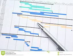 Paper Gantt Chart Project Management With Gantt Chart Stock Image Image Of