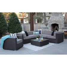 modern outdoor patio furniture. Alexandra 7-PC Modern Outdoor Rattan Patio Furniture Sofa Set-Modular A