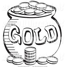 Small Picture Black and White Coloring Page of a Stack of Coins near a Pot of