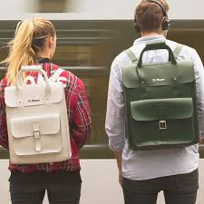 double docs the small leather backpack in white kiev and green