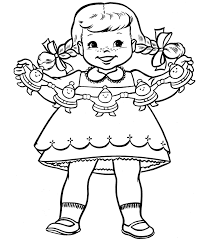 Small Picture A Little Girl With Decorations For Christmas Coloring Page