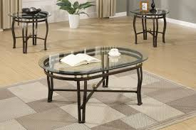3 piece bronze metal coffee table set with clear glass beveled oval shaped