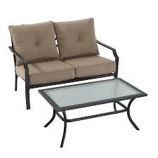 garden treasures vinehaven 2 piece steel frame patio conversation set with tan cushions