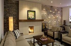 living room decoration ideas natural stone wall recessed lighting