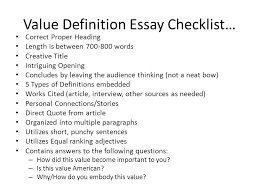 value definition essay checklist ppt  value definition essay checklist