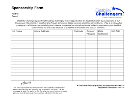 Fundraiser Form Templates Fundraising Sponsorship Form Template Templates Oda1nje