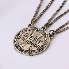 3pcs best friends three flap splicing vintage interlocking pendant necklace trois rabat amour pendentif c