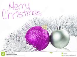Purple Christmas Card Christmas Card With Ornaments Silver And Purple Stock Image