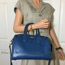 New Coach Bennett Large Satchel navy blue