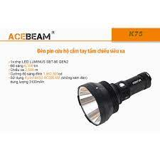 HÀNG ĐẦU TG] Đèn pin ACEBEAM K75 - Độ sáng 6500lm chiếu xa 2500m kèm 4 pin  18650 và sạc nhanh C4-12 - Đèn pin