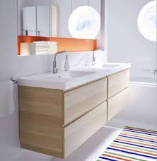 a wall mounted vanity cabinet add elegance to bathroom bright with modern and stripes