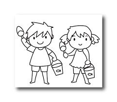 バケツを持つ男の子と女の子のイラスト素材が公開中です 日日oekaki