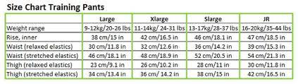 Training Pants Size Chart Size Charts Imsevimse