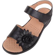 Ladies Shoes Design Ladies Wide Fitting Summer Sandals Shoes With Flower Design