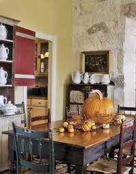 autumn fall table with rustic painted dining table and mismatched chairs pumpkin gourd