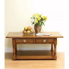 english oak coffee table with 2 drawers