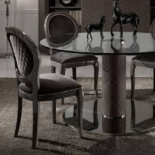 Italian Glass Dining Table Italian Nubuck Leather Round Glass Dining Table And Chairs Set