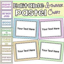 Pastel Chevron Theme Behavior Clip Chart Editable