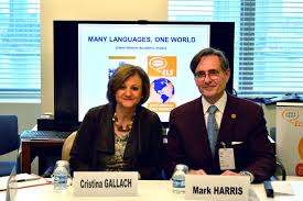 unai and els launch many languages one world essay contest  united nations usg for dpi cristina gallach and els ceo and president mark harris