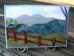 Fabric Postcard Art Quilt Fiber Art-Mountains Landscape-Fence-Pine ... & Fabric Postcard Art Quilt Fiber Art-Mountains Landscape-Fence-Pine Trees |  Fabric postcards and Fabrics Adamdwight.com