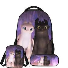 <b>3Pcs</b>/<b>Set</b> Backpacks Cartoon How To Train Your Dragon <b>Black</b> ...