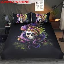 lovinsunshine flowery skull by sunima bedding set purple flower duvet cover dangerous monster fl bed set bedclothes country bedding luxury comforter
