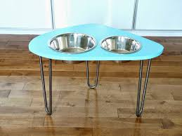 diy raised dog bowl stand on hair pin legs
