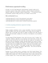 Review Examples For Employees Employee Performance Review Samples Phrases 1 Sample Appraisal