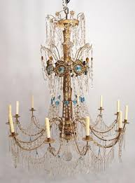 italian gilt metal and crystal chandelier 19th century 12 scrolled branches set with 12