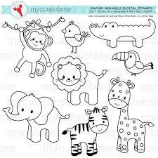 Safari Animals Template Safari Animals Digital Stamps Outlines Line Art Giraffe