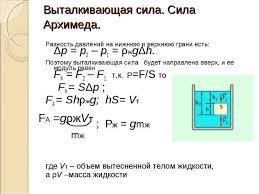 Конспект урока по теме Выталкивающая сила Закон Архимеда  Выталкивающая сила Сила Архимеда Разность давлений на нижнюю и верхнюю гран