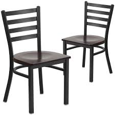 2 pk hercules series black ladder back metal restaurant chair walnut wood seat