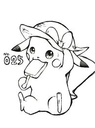 フサギンポケモンぬり絵図鑑no025 ピカチュウ 手書きブログ
