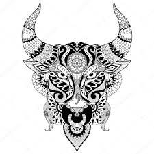 Kresba Rozzuřený Býk Za Omalovánky Pro Dospělé Tetování Design T