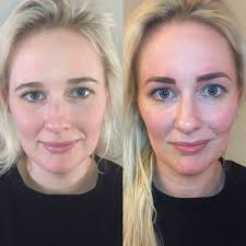 eyebrow microblading blonde hair. microblading before and after picture with blonde hair dark brows. eyebrow