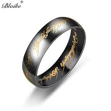 Us 1 49 40 Off Blaike 6mm Width Gold Silver Black Lord Of The Rings For Women Men Vintage Fashion Titanium Steel Ring Stainless Steel Jewelry In