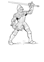 Soldier Black Background Coloring Page Knight Sheets 01 Best Free